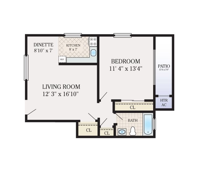 2 Bedroom 1 Bathroom. 920 Sq. Ft.